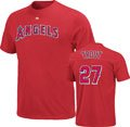 Mike Trout Red Majestic Los Angeles Angels of Anaheim Name & Number T-Shirt