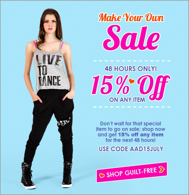 48 Hours Only! 15% off on any item