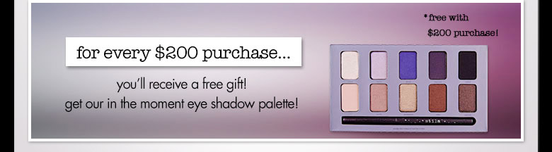 $200 purchase get in the moment eye shadow palette