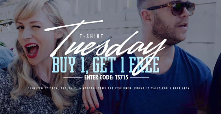 Click to shop T Shirt Tuesday: buy 1, get 1 with code TS715.