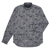 Classic-Fit Grey Graffiti Jacquard Shirt