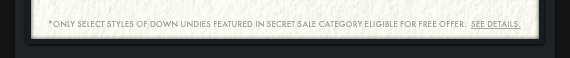 *ONLY SELECT STYLES OF DOWN UNDIES FEATURED IN SECRET SALE CATEGORY  ELIGIBLE FOR FREE OFFER. SEE DETAILS