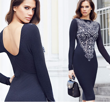 Lace Devore Shift Dress