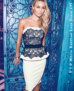 V I P White Bandeau Lace Dress