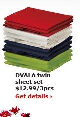 DVALA twin extra-long sheet set $14.99/3pcs