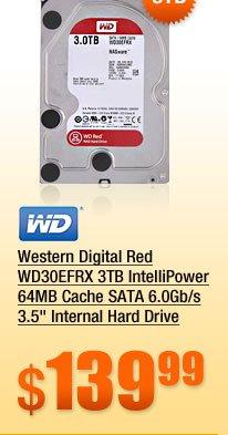 Western Digital Red WD30EFRX 3TB IntelliPower 64MB Cache SATA 6.0Gb/s 3.5 inch Internal Hard Drive