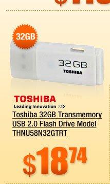 Toshiba 32GB Transmemory USB 2.0 Flash Drive Model THNU58N32GTRT