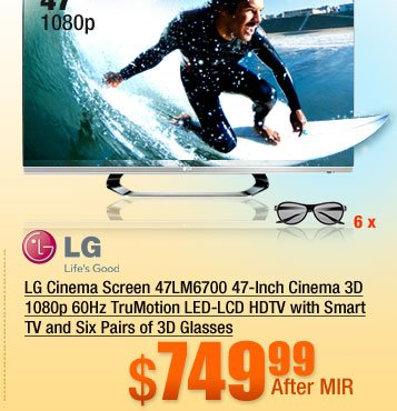 LG 47 inch Class (46.9 inch Diag.) 1080p 120Hz LED-LCD HDTV 47LM6700