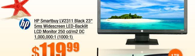 HP Smartbuy LV2311 Black 23 inch 5ms Widescreen LED-Backlit LCD Monitor 250 cd/m2 DC 1,000,000:1 (1000:1)