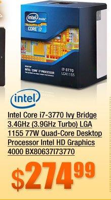 Intel Core i7-3770 Ivy Bridge 3.4GHz (3.9GHz Turbo) LGA 1155 77W Quad-Core Desktop Processor Intel HD Graphics 4000 BX80637I73770