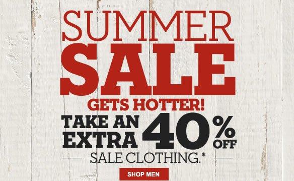 Summer Sale gets hotter! Take an extra 40% off sale clothing.* Shop Men