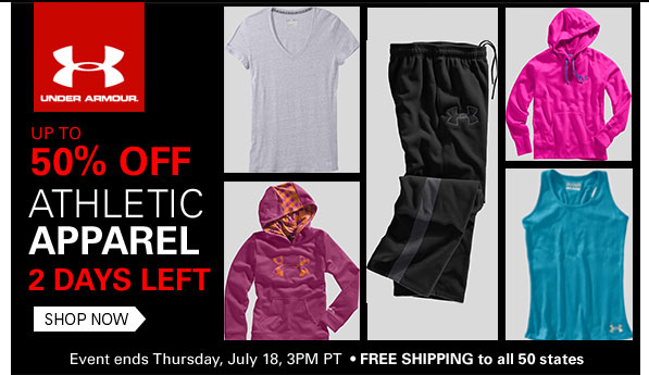 Under Armour: Up to 50% Off Athletic Apparel 2 Days Left Shop Now