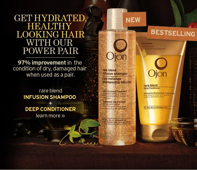 GET  HYDRATED HEALTHY LOOKING HAIR WITH OUR POWER PAIR 97 percent improvement  in the condition of dry damaged hair when used as pair rare blend  INFUSED SHAMPOO
