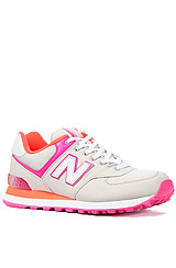 The 574 Classic Sneaker in White, Orange and Pink Neon