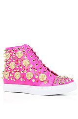 The Adams Lion Sneaker in Fuchsia and Gold