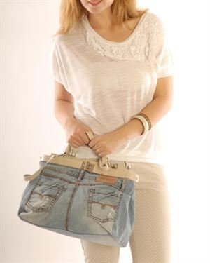 Silvana Cirri Faded Leather & Denim Satchel Made In Italy