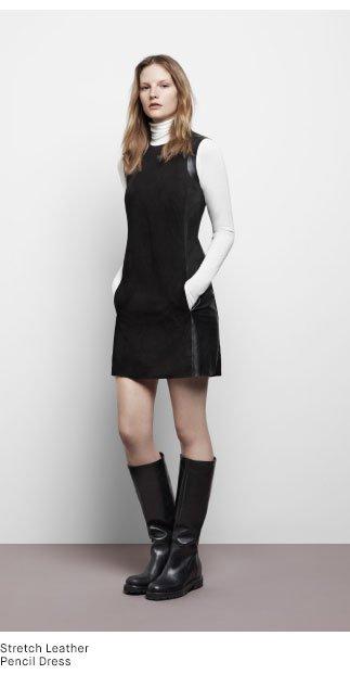Stretch Leather Pencil Dress