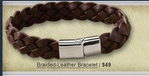Braided-Leather Bracelet   $49