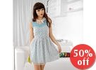 Cat Print Sweetheart Neckline Dress