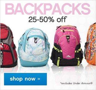 Backpacks 25-50% off. Shop now.