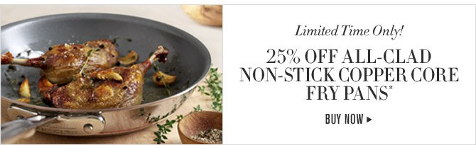 Limited Time Only - 25% OFF ALL-CLAD NON-STICK COPPER CORE FRY PANS* - BUY NOW