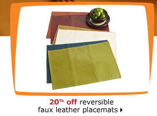 20% off reversible faux leather placemats