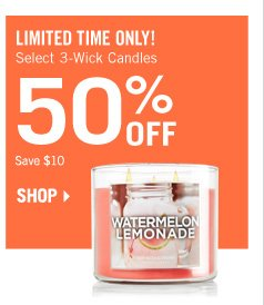 Select 3-Wick Candles – 50% Off