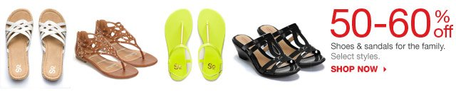 50-60% off Shoes & sandals for the family. Select styles. SHOP NOW