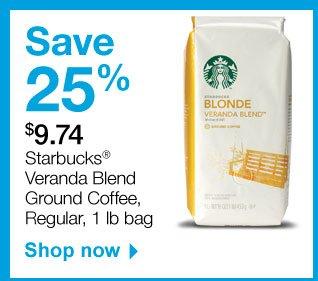Save 25  percent. $9.74 Starbucks Veranda Blend Ground Coffee, Regular, 1 pound  bag. Shop now.