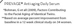 PREVAGE® Anti-aging Daily Serum. *Bohman, G et all(2009), Factors Contributing to the Facial Aging of Identical Twins. **Based on average percent improvement from baseline in a 12 week clinical study on 34 women.