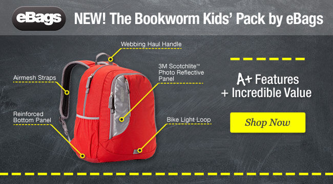 New! The Bookworm Kids' Pack by eBags. Shop Now.