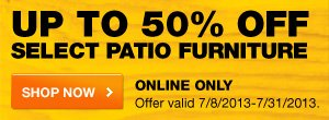 Up to 50% OFF Select Patio Furniture