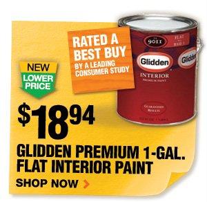 $18.94 Glidden Premium 1 Gal Flat Interior Paint
