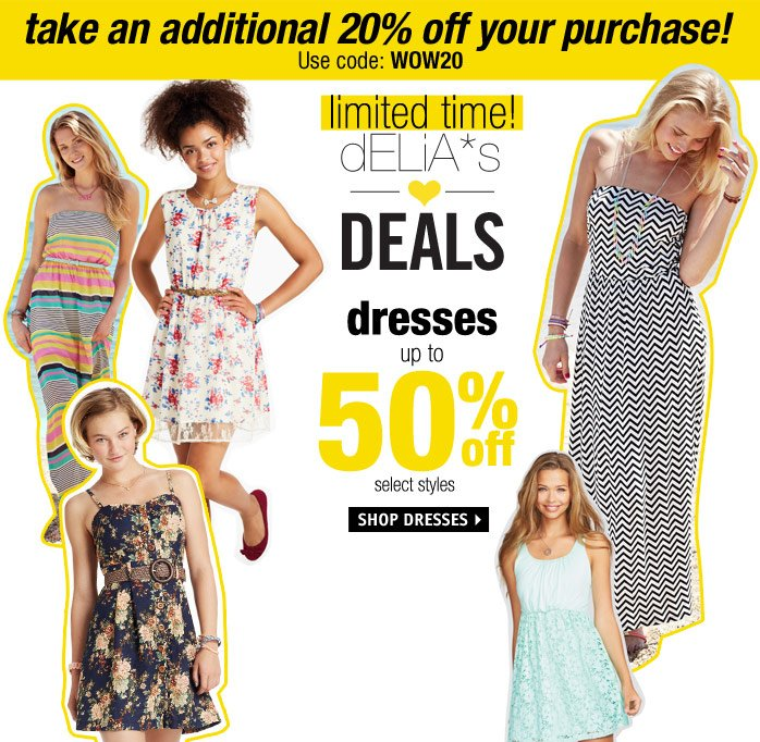 DRESSES UP TO 50% OFF - SELECT  STYLES.