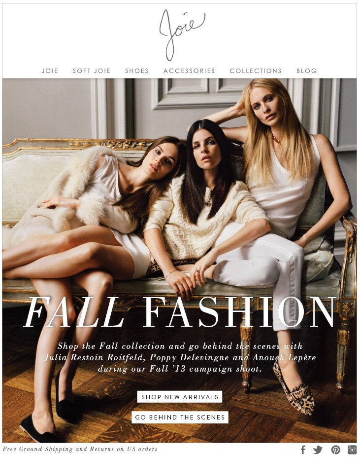 FALL FASHION Shop the Fall collection and go behind the scenes with Julia Restoin Roitfield, Poppy Delevingne and Anouck Lepere during our Fall '13 campaign shoot.