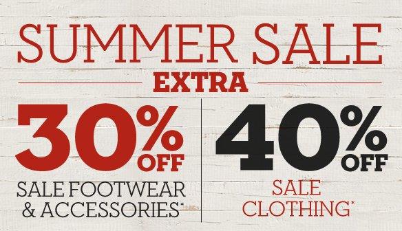 Summer Sale - Extra 30% off sale footwear & accessories.* 40% off sale clothing.* Shop Men