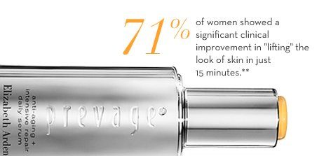 """71% of women showed a significant improvement in """"lifting"""" the look of skin in just 15 minutes.** New PREVAGE® Anti-aging + Intensive Repair Daily Serum $225.00. SHOP NOW."""