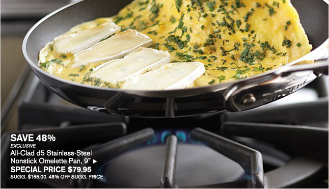 """SAVE 48% -- EXCLUSIVE -- All-Clad d5 Stainless-Steel Nonstick Omelette Pan, 9"""", SPECIAL PRICE $79.95 -- SUGG. $155.00, 48% OFF SUGG. PRICE"""