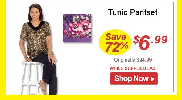 Tunic Pantset- Save 72% - Now Only $6.99 Limited Time Offer