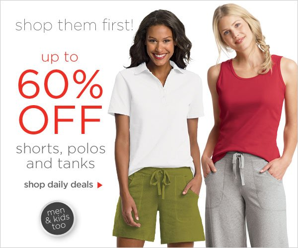 Up to 60% off Shorts, Polos & Tanks