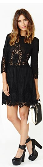 Valentina Crochet Dress Black
