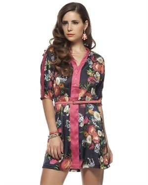Joymiss Flower Print Belted Dress Made In Europe