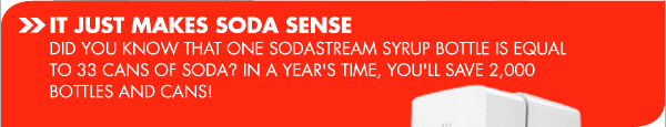 IT JUST MAKES SODA SENSE. DID YOU KNOW THAT ONE SODASTREAM SYRUP BOTTLE IS EQUAL TO 33 CANS OF SODA? IN A YEAR'S TIME, YOU'LL SAVE 2,000 BOTTLES AND CANS!