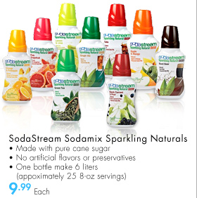 SodaStream Sodamix Sparkling Naturals • Made with pure cane sugar • No artificial flavors or preservatives • One bottle makes 6 liters (approximately 25 8-oz servings)9.99 Each