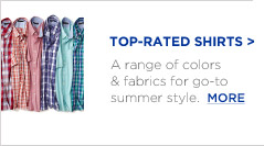 TOP-RATED SHIRTS | A range of colors & fabrics for go-to summer style.  MORE
