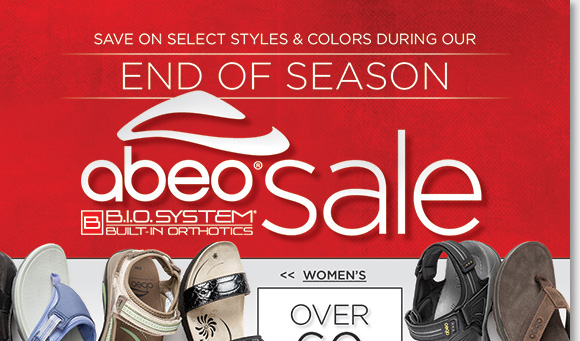 Save on over 60+ select ABEO B.I.O.system sandals for women and men during our End of Season Sale and enjoy FREE Shipping!* ABEO B.I.O.system sandals feature a 3-D fit for the ultimate comfort. Find the best selection when you shop online and in-stores at The Walking Company.