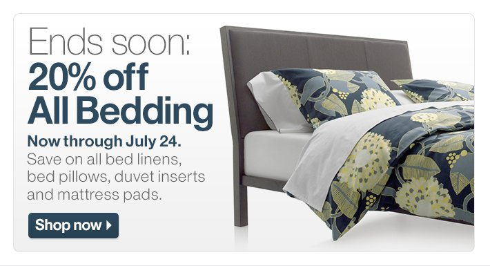 Ends soon: 20% off All Bedding