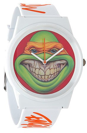 Click to Shop FLUD The TMNT Pantone Mike Watch in White and Orange