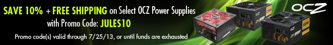 OCZ - Save 10% + Free Shipping on Select OCZ Power Supplies with Promo code