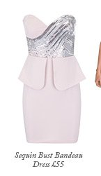 Sequin Bust Bandeau Dress